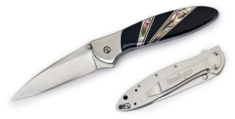 Kershaw 1660AB Ken Onion Leek Assisted Flipper Knife 3 inch Bead Blast Plain Blade, Stainless Steel Handles with Jet and Abalone Onlays