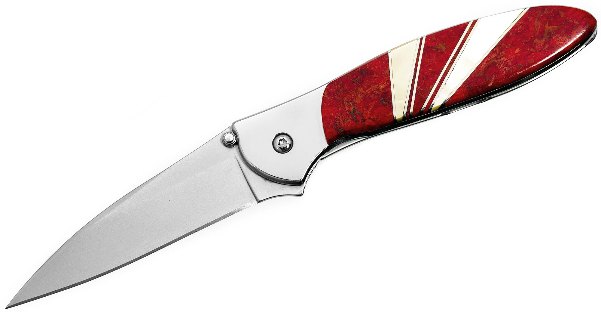 Kershaw 1660JC Ken Onion Leek Assisted Flipper Knife 3 inch Blade, Red Coral and Mother of Pearl Jewelry Collection