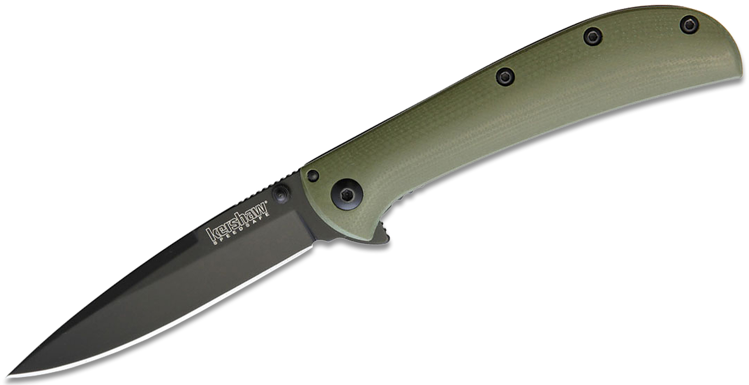 Kershaw 2335GRNBLK Al Mar AM-3 Assisted Flipper 3.125 inch Black Spear Point Blade, Green G10 and Black Stainless Steel Handles