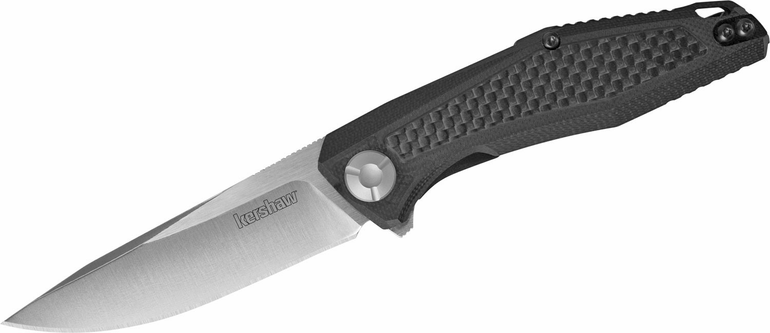 Kershaw Dmitry Sinkevich Atmos Flipper Knife 3 inch Modified Drop Point Blade, Black G10 Handles with Carbon Fiber Inlays