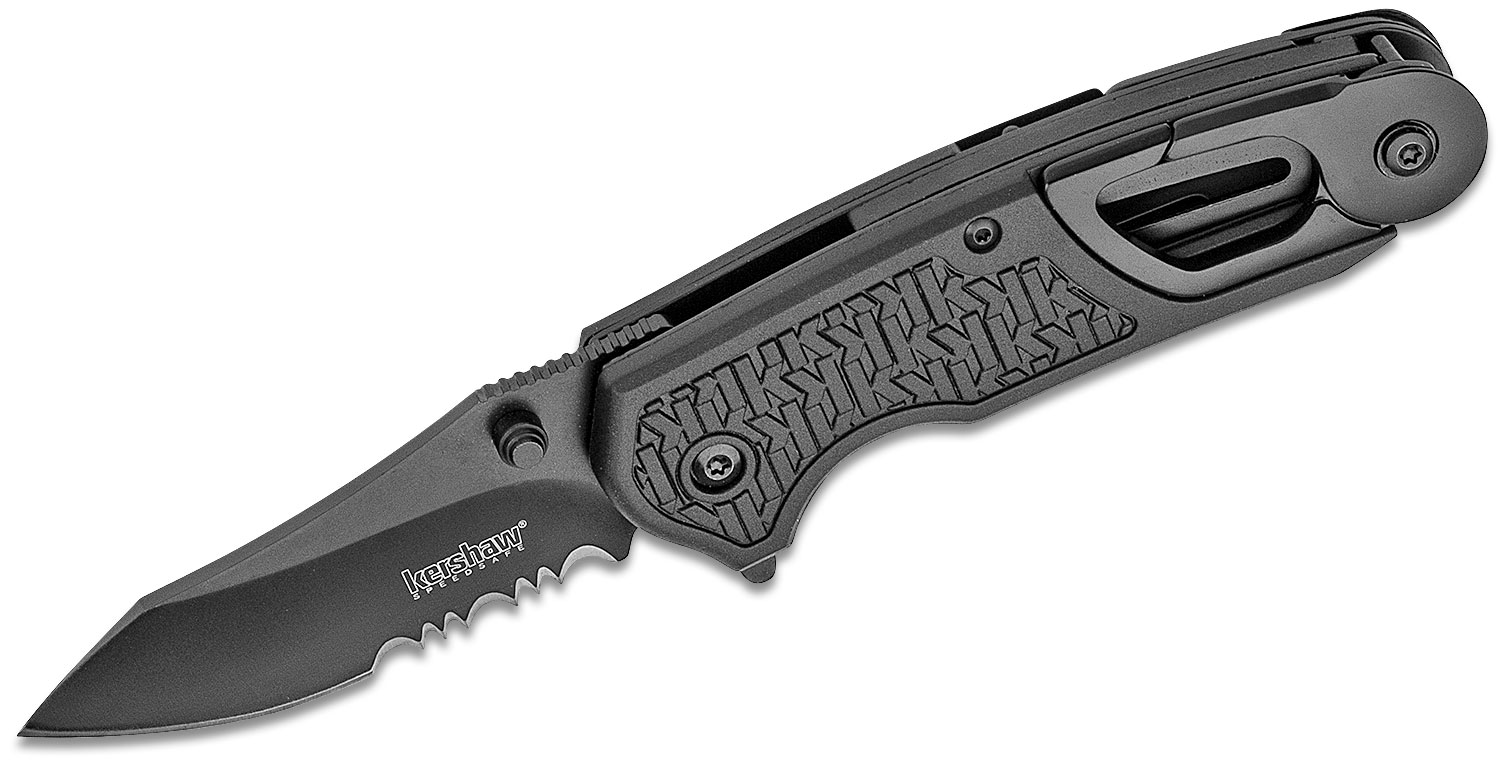 Kershaw 8100 Funxion EMT Rescue Assisted Flipper 3 inch Black Combo Blade, Black FRN Handles