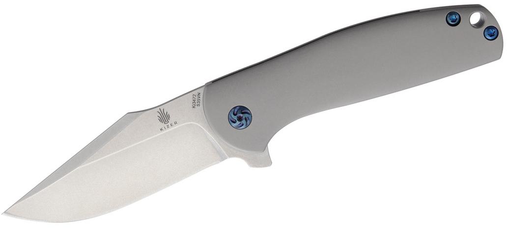 Kizer Cutlery Ki3472 Ray Laconico Ursa Minor Flipper 3.125 inch S35VN Satin Blade, Titanium Handles