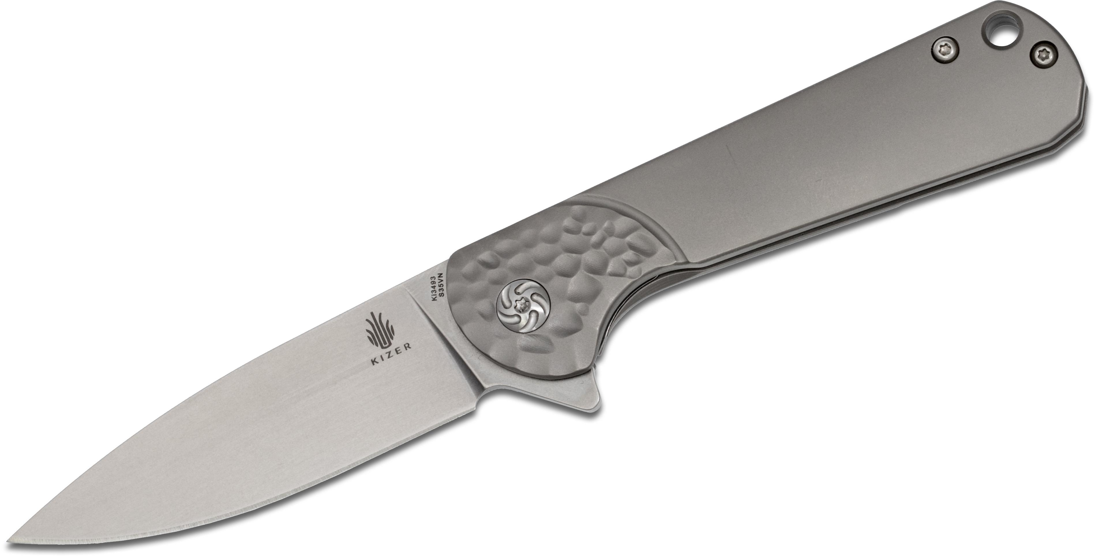 Kizer Cutlery Ki3493 Envoy Flipper 2.99 inch S35VN Spear Point Blade, Milled Titanium Handles