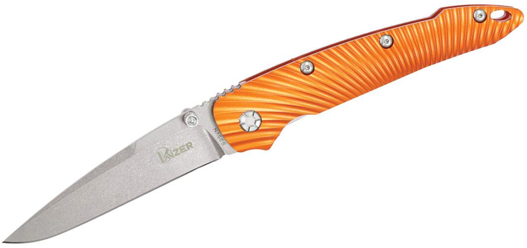 Kizer Cutlery Ki4419A1 Sliver Folding Knife 3.54 inch S35VN Stonewashed Blade, Orange Aluminium Handles