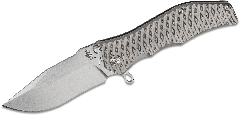 Kizer Cutlery Ki4501 Darrel Ralph Gunhammer Flipper 3.5 inch S35VN Bowie Blade, 3D Machined Titanium Handles
