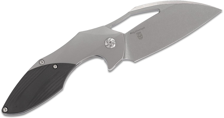 Kizer Cutlery Ki4502L1 Elijah Isham Megatherium Left-Handed Flipper Knife 3.65 inch S35VN Wharncliffe Blade, Titanium Handles with Carbon Fiber Inlays