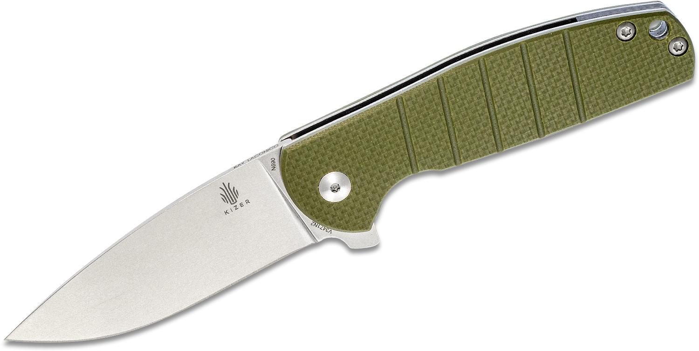 Kizer Cutlery Vanguard Ray Laconico Gemini Flipper Knife 3.125 inch N690 Stonewashed Blade, OD Green G10 Handles