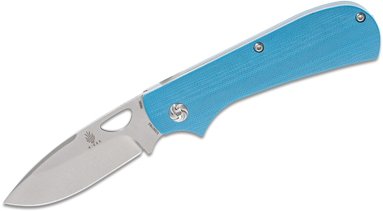 Kizer Cutlery Mike Vagnino Zipslip Slipjoint Folding Knife 2.84 inch N690 Bead Blast Drop Point Blade, Blue G10 Handles