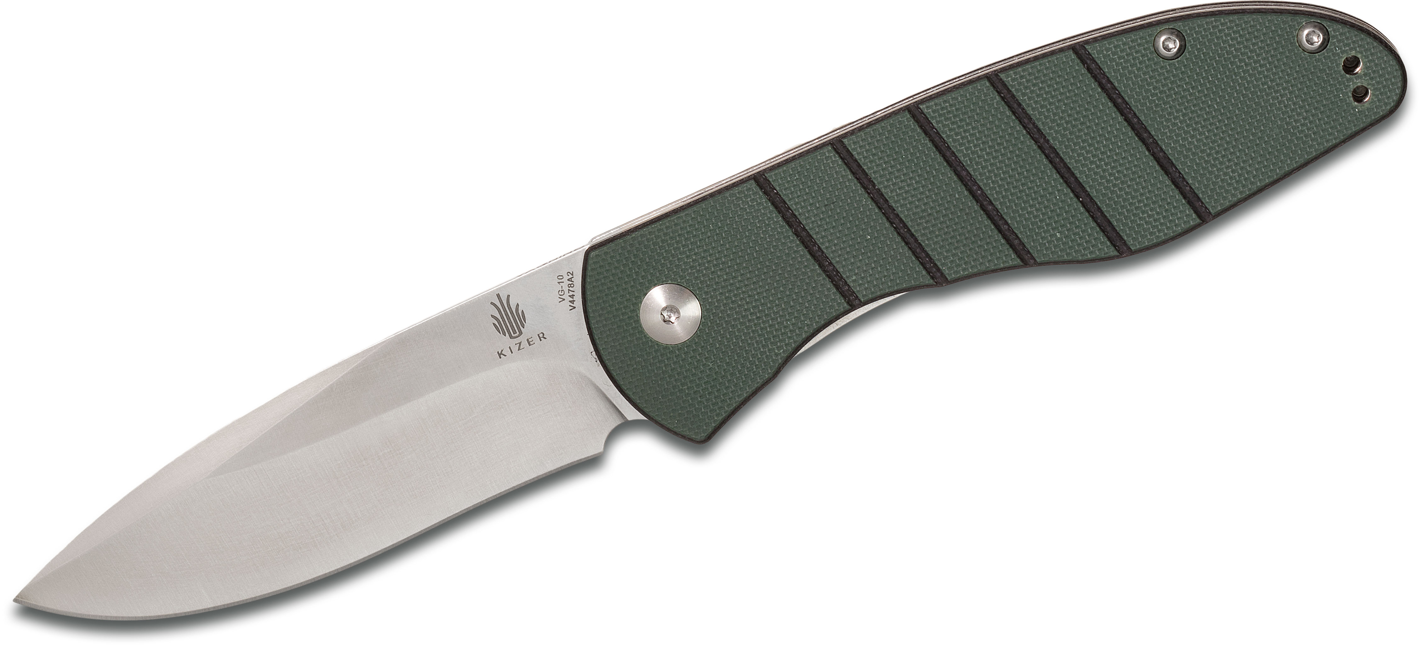 Kizer Cutlery Vanguard V4478A2 Michael Vagnino Velox 2 Flipper 3.375 inch VG10 Drop Point Blade, Green G10 Handles