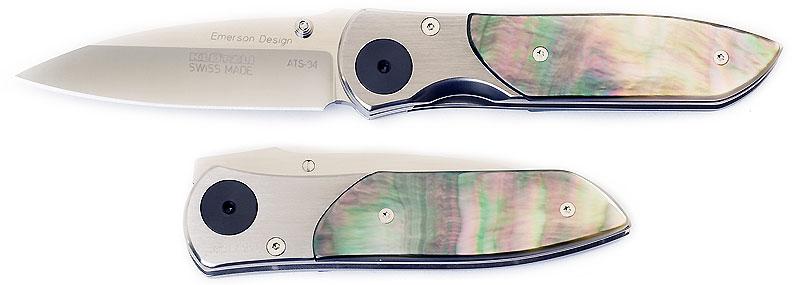 Klotzli Emerson Design Limited Edition Folding Knife 2-3/4 inch Blade, Black Mother of Pearl Handles
