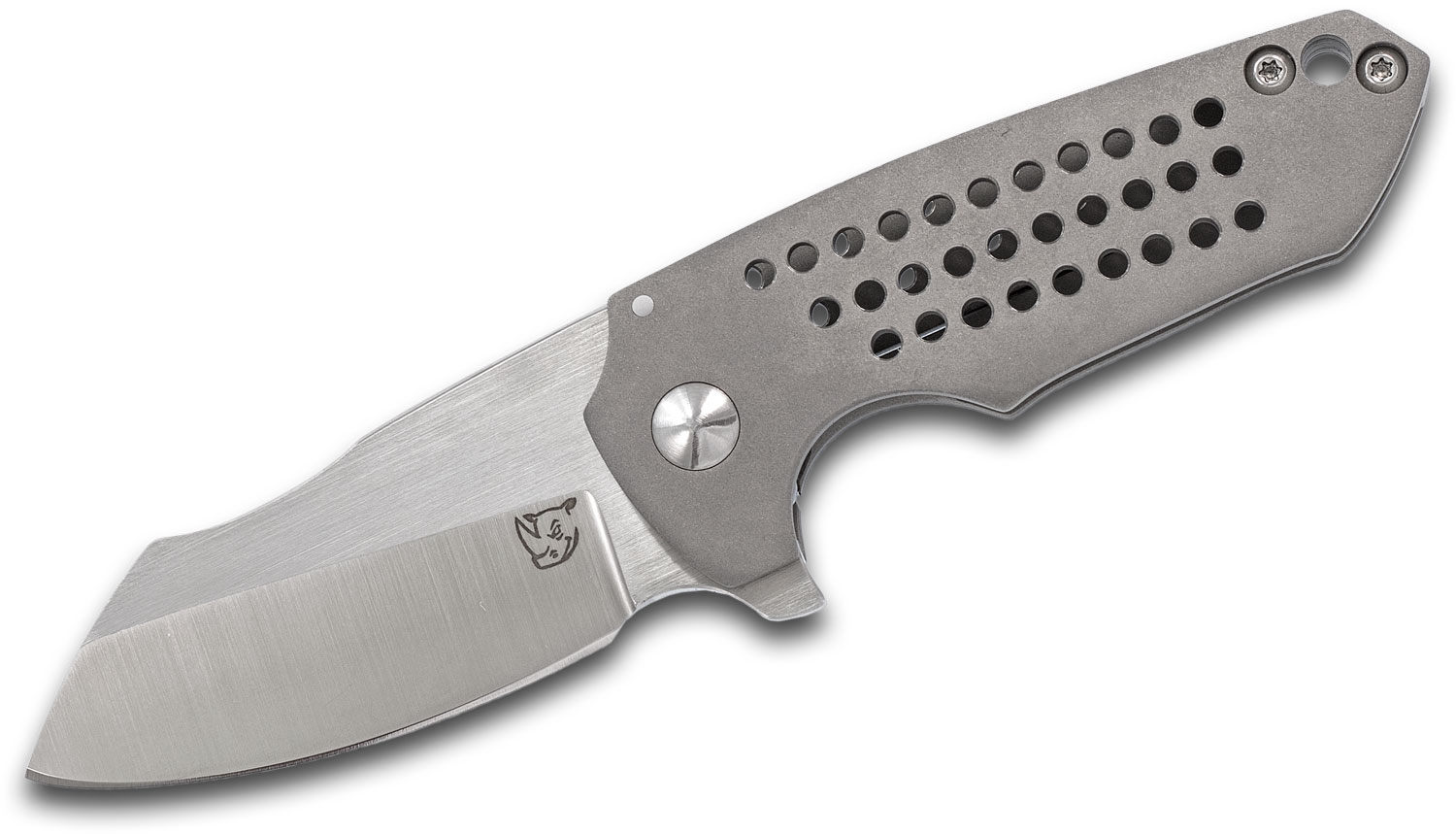 KM Designs Custom Gents Fatboy Flipper Knife 2.875 inch CPM-154 Satin Blade, Bead Blasted Titanium Handles with Milled Holes