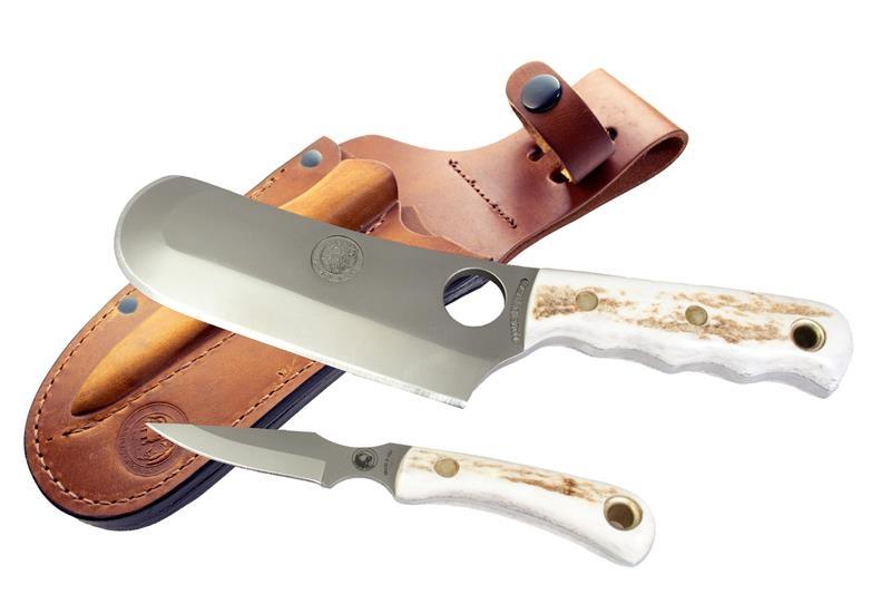 Knives of Alaska Brown Bear/Cub Bear Combo Set, Stag Handles, Brown Leather Sheath