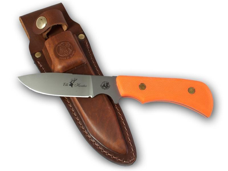Knives of Alaska Trekker Elk Hunter Fixed 4.375 inch D2 Bead Blast Blade, Orange Santoprene SureGrip Handles, Brown Leather Sheath