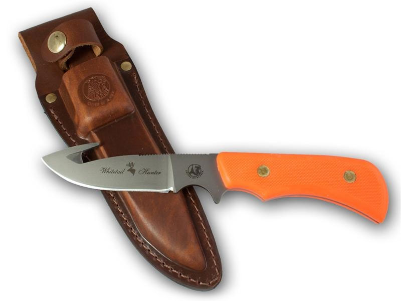 Knives of Alaska Trekker Whitetail Hunter Fixed 4.375 inch D2 Bead Blast Blade with Gut Hook, Orange Santoprene SureGrip Handles, Brown Leather Sheath