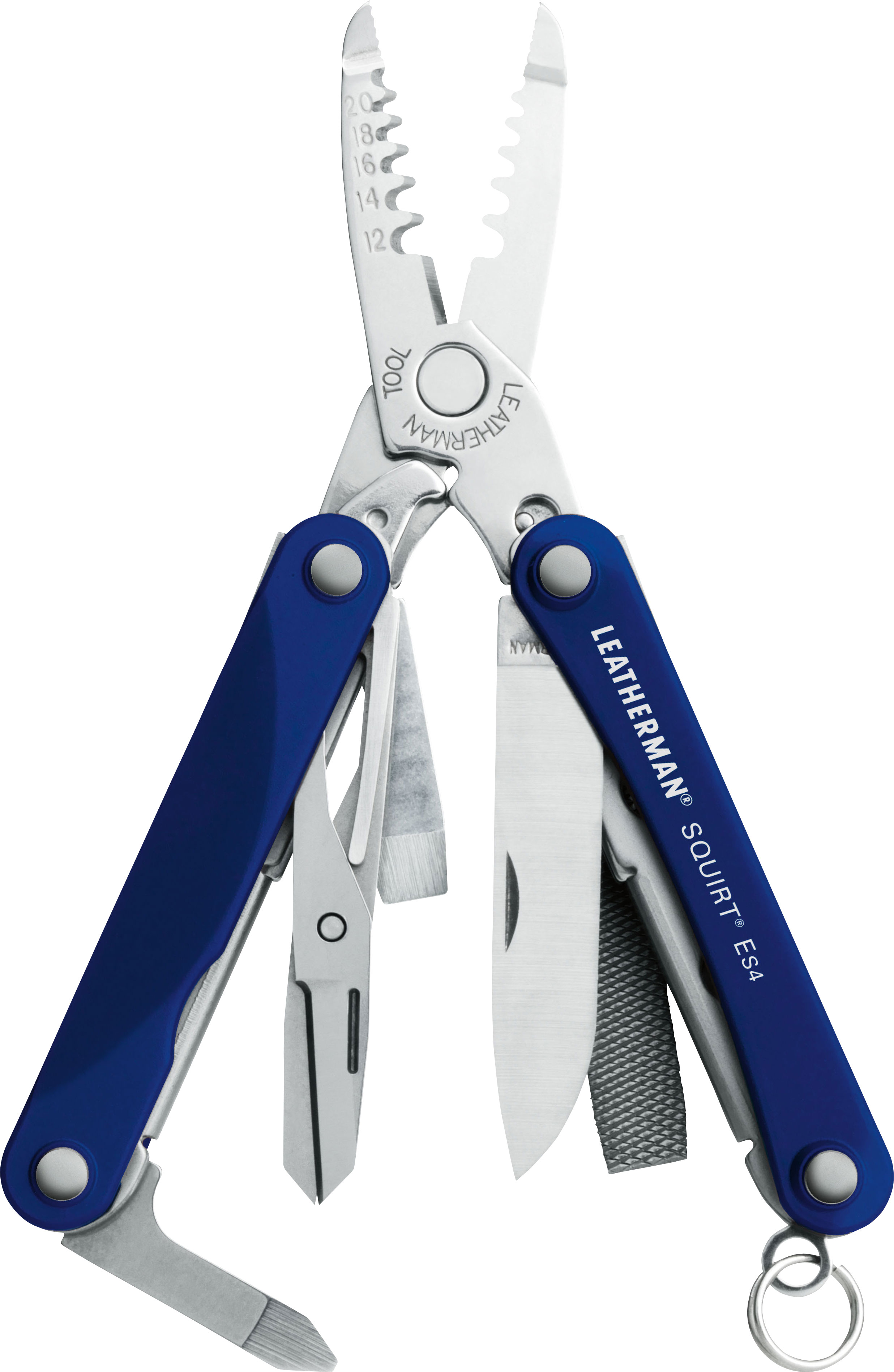 Leatherman Squirt ES4 Keychain Electrician's Mini Multi-Tool, Blue Aluminum Handles