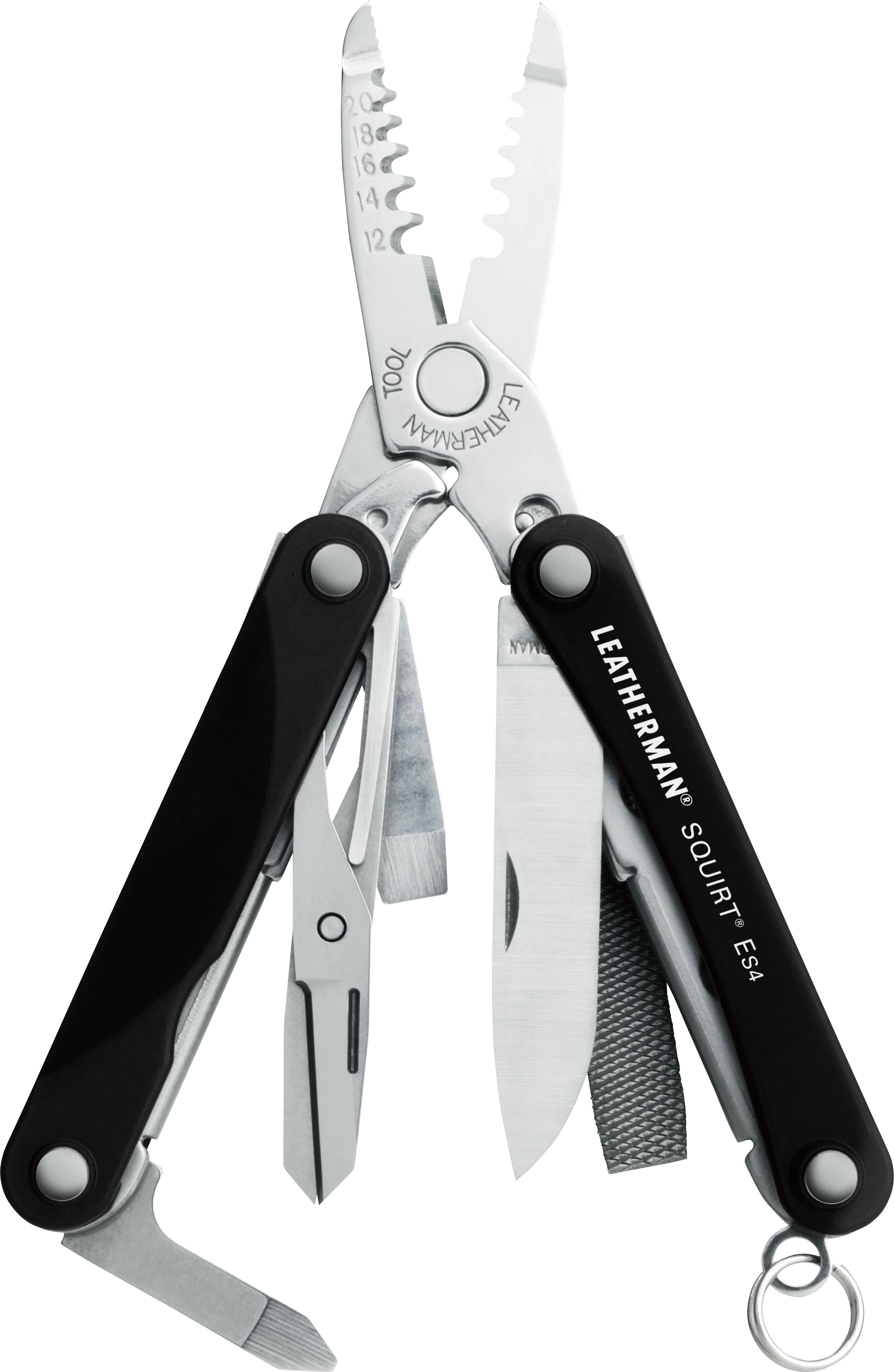 Leatherman Squirt ES4 Keychain Electrician's Mini Multi-Tool, Black Aluminum Handles