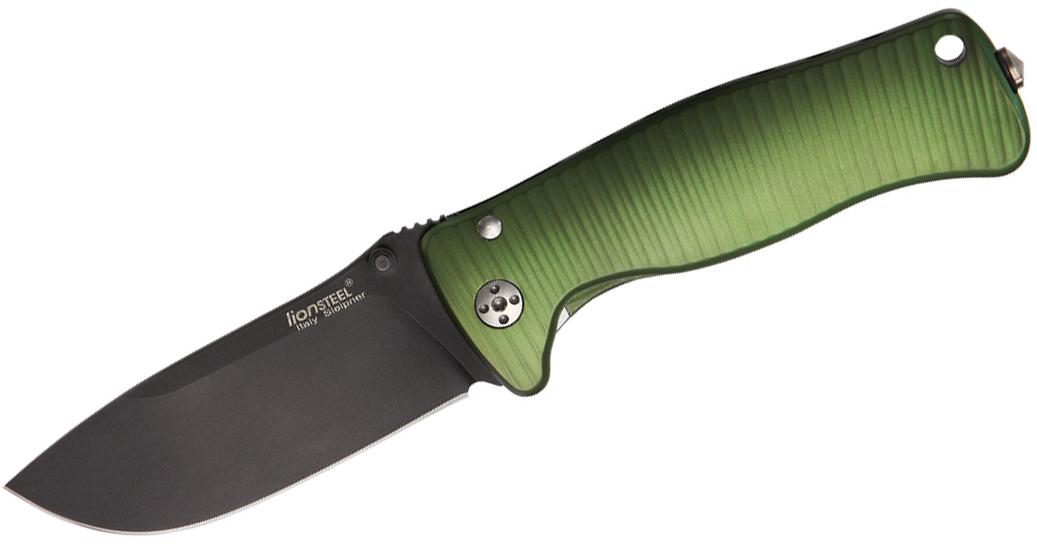 LionSteel SR-2A GB Folding 3.07 inch Black Sleipner Steel Blade, Green Aluminum Handle