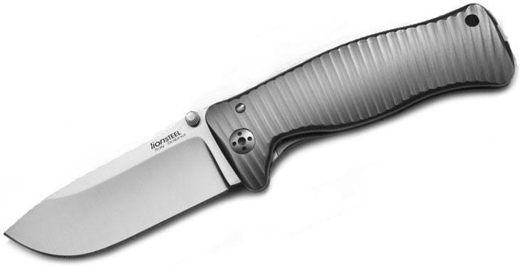LionSteel SR-1 G Folding 3.7 inch Satin Sleipner Steel Blade, Gray Titanium Handle with Presentation Box