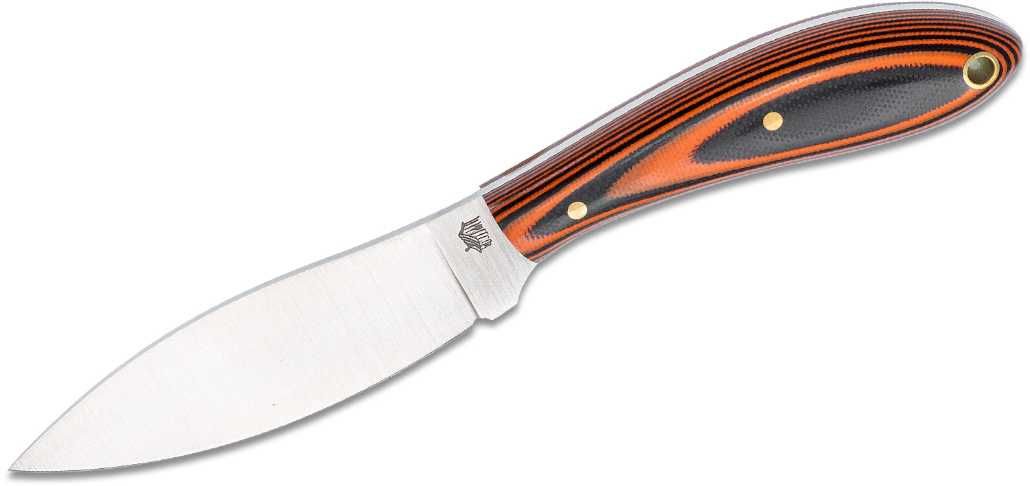 L.T. Wright Small Northern Hunter 3.5 inch AEB-L Saber Grind Fixed Blade Knife, Polished Black and Orange G10, Leather Sheath