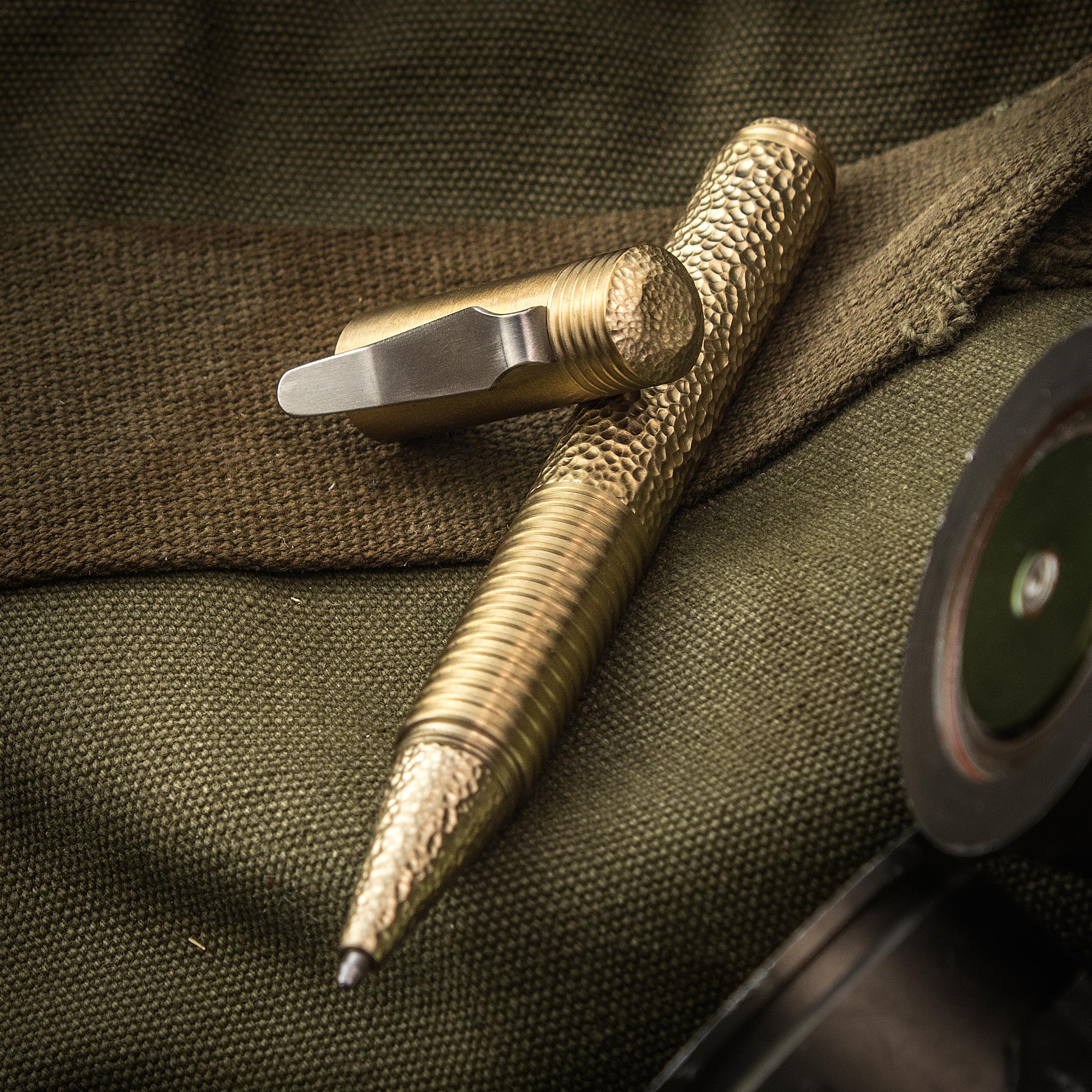 Matthew Martin Custom 500BT Textured Brass Screw Cap Tactical Pen, 5 inch Overall, KnifeCenter Exclusive