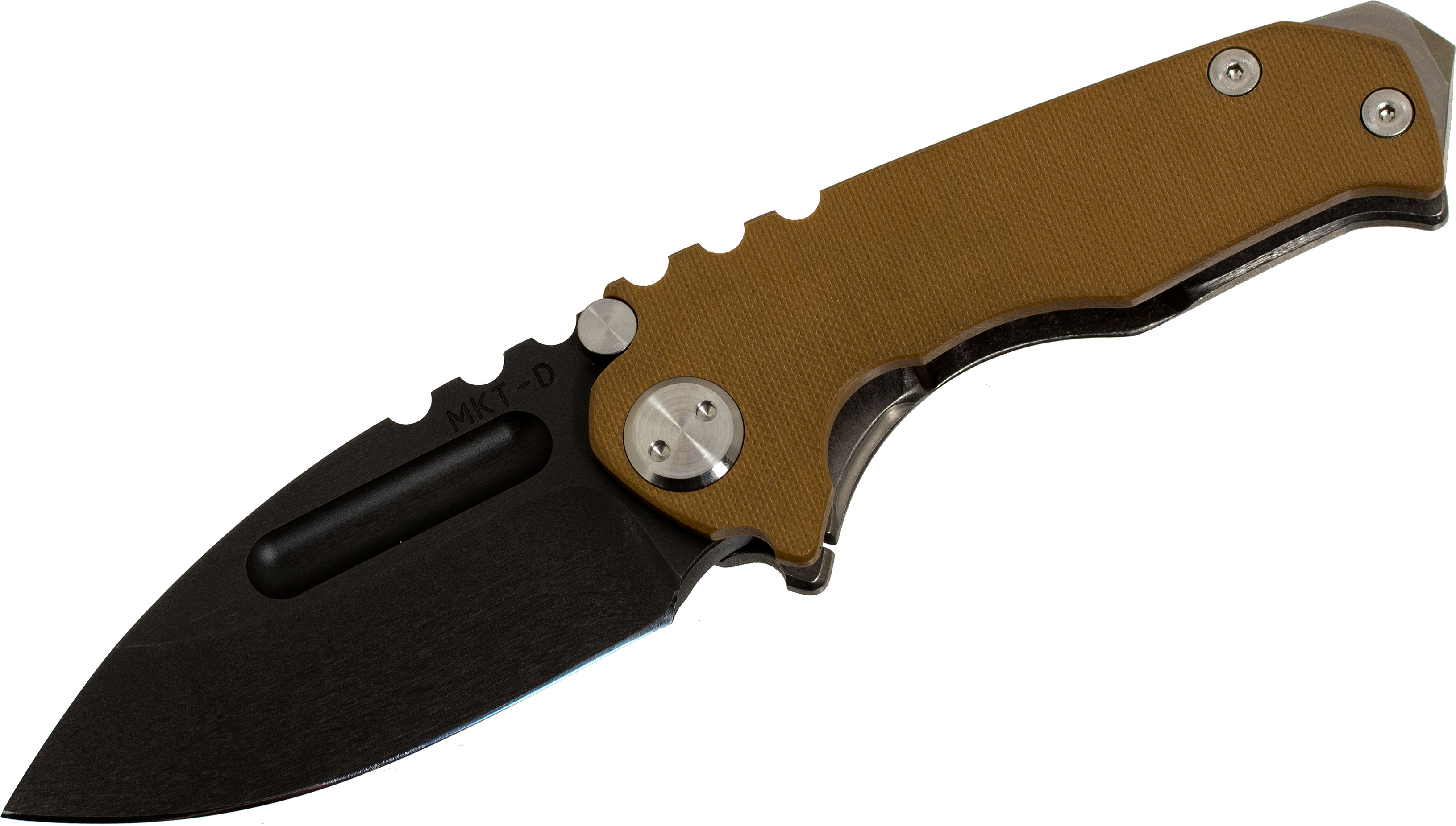 Medford Micro Praetorian Folder 2.8 inch Black D2 Plain Blade, Coyote Brown G10/Tumbled Titanium Handles