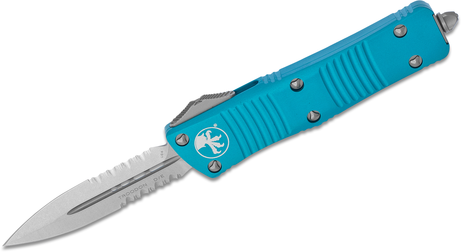 Microtech 138-11TQ Troodon AUTO OTF Knife 3.06 inch Stonewashed Double Combo Edge Dagger Blade, Turquoise Aluminum Handles