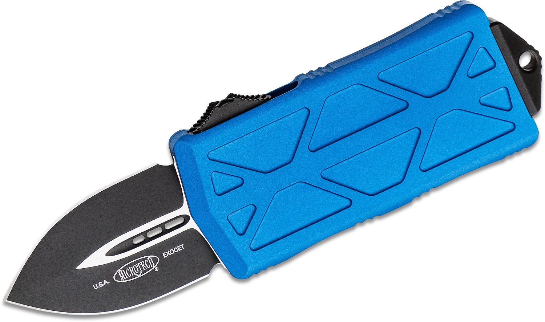 Blue Star Blade Reviews >> Microtech 157 1bl Exocet Otf Money Clip Auto Knife 1 98 Black Double Edge Blade Blue Aluminum Handles