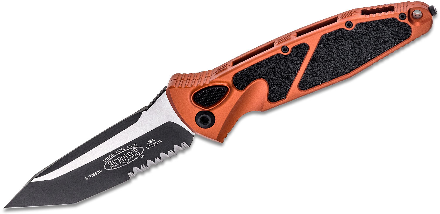 Microtech 161A-2OR Socom Elite AUTO Folding Knife 4.05 inch Black Tanto Combo Blade, Orange Aluminum Handles