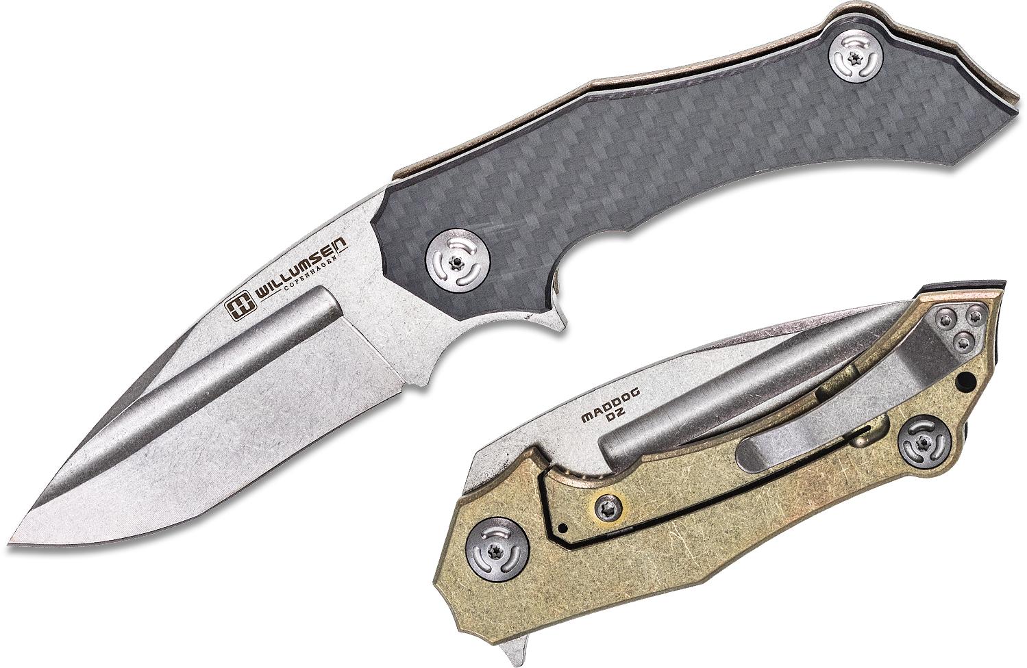 Willumsen Copenhagen Maddog Flipper Knife 3.5 inch D2 Stonewashed Blade, Carbon Fiber and Gold Titanium Handles