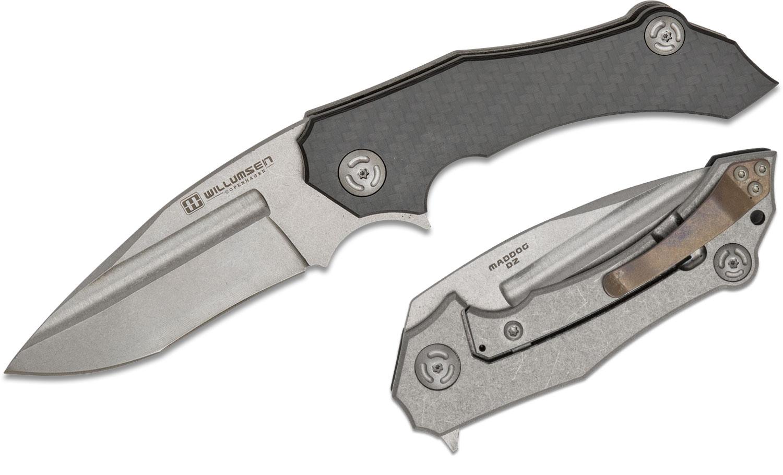Willumsen Copenhagen Maddog Flipper Knife 3.5 inch D2 Stonewashed Blade, Carbon Fiber and Stonewashed Titanium Handles, Bronze Clip, KnifeCenter Exclusive