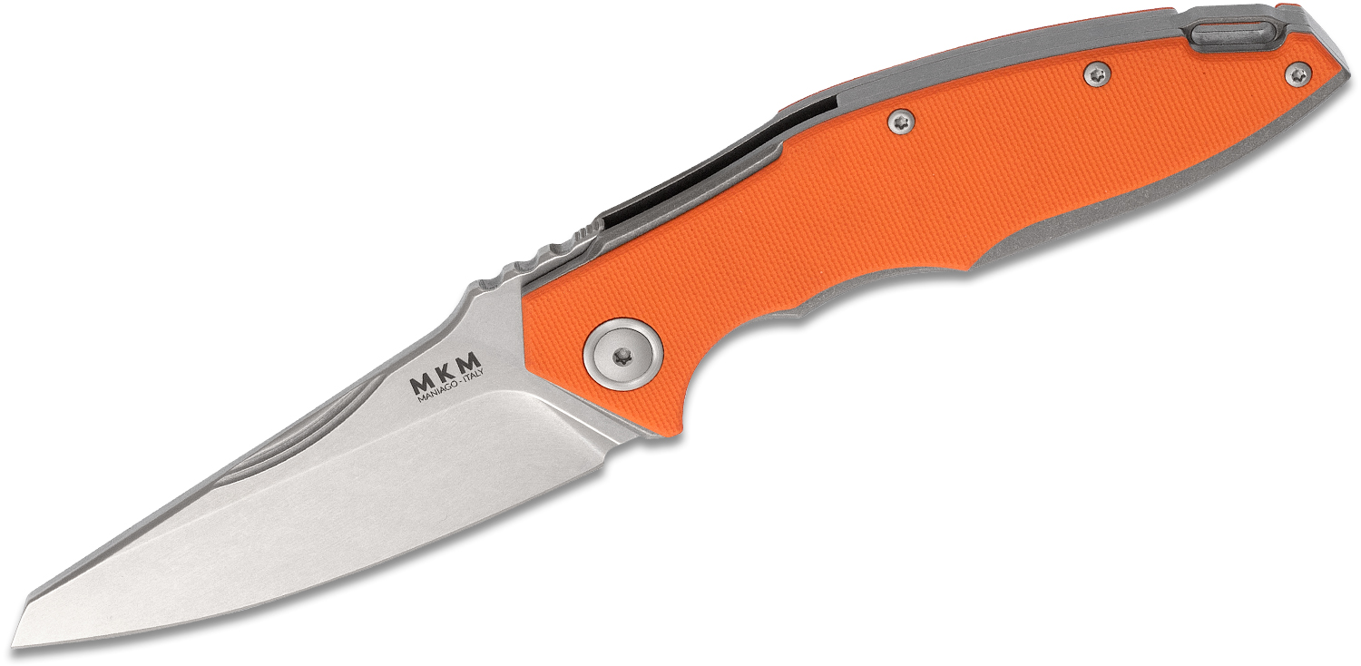 MKM Viper Knives Lucas Burnley Raut Front Flipper Knife 3.35 inch M390 Stonewashed Blade, Orange G10 Handles