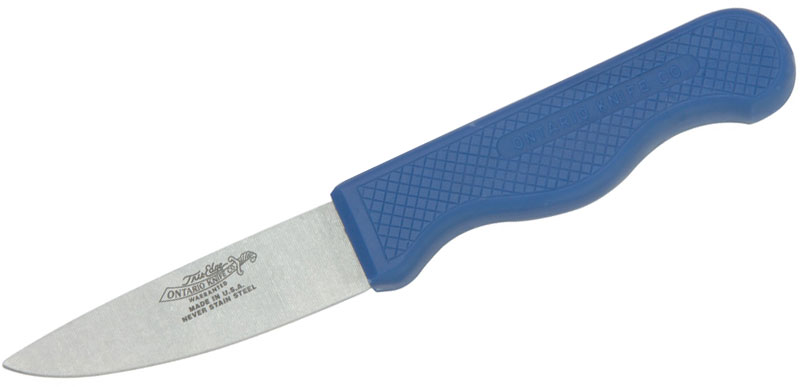 Ontario Canning Field Knife 3.5 inch Stainless Blade, Blue Plastic Handle