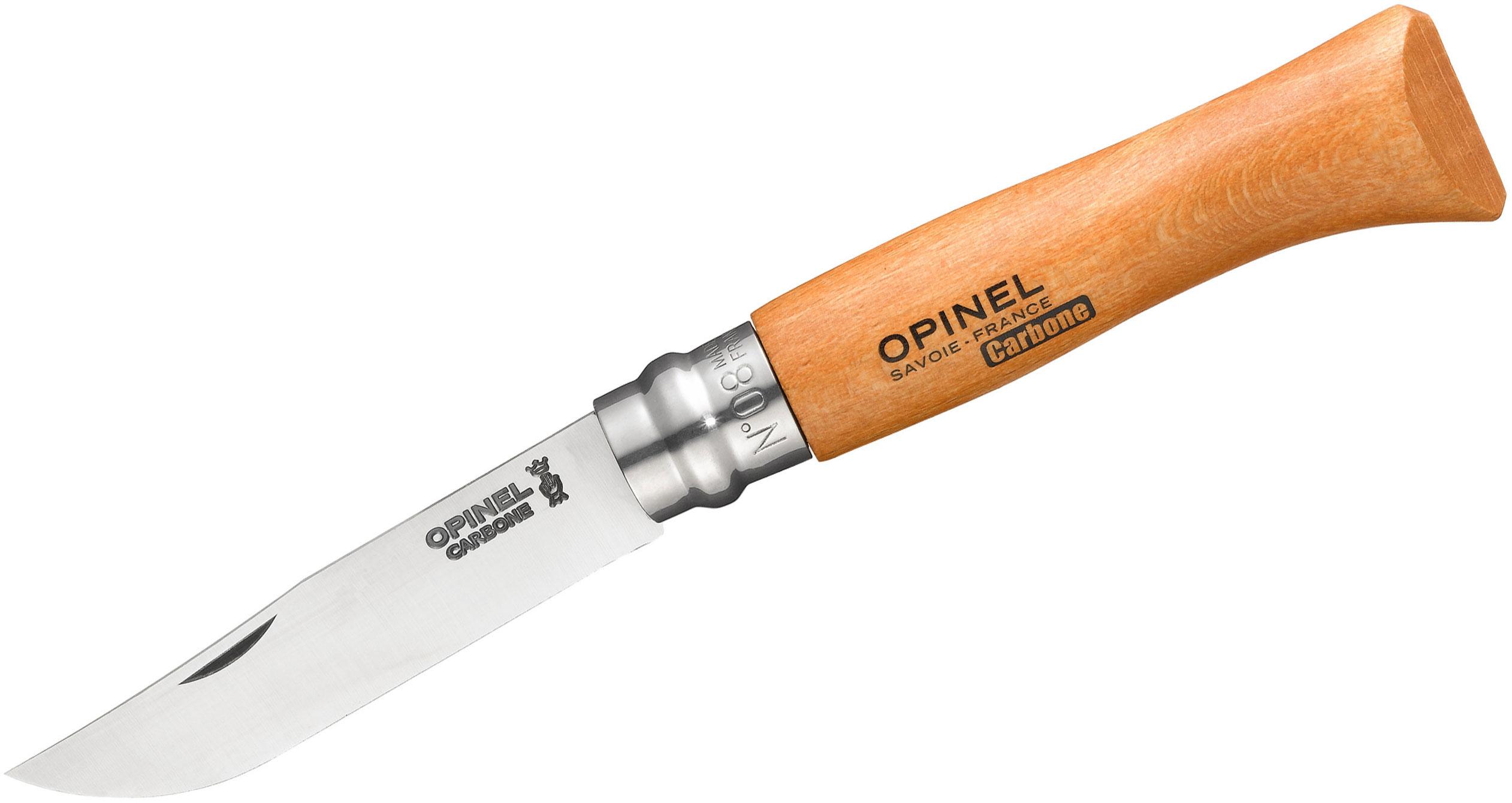 Opinel N08 Folding Knife 3.25 inch X90 Carbon Plain Blade, Beechwood Handle