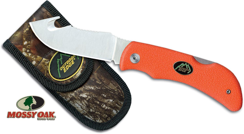 Outdoor Edge Grip Hook Blaze Folding Skinner 3.2 inch Blade, Orange Kraton Handles