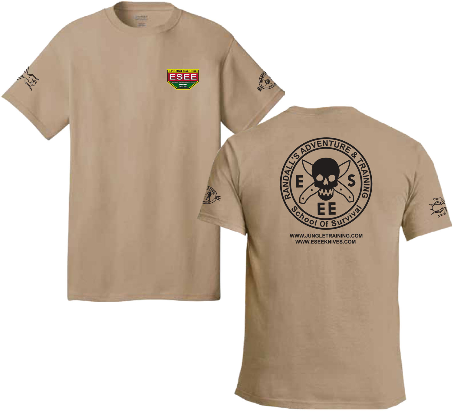 ESEE Knives Brown Training T-Shirt, Short Sleeve, Large