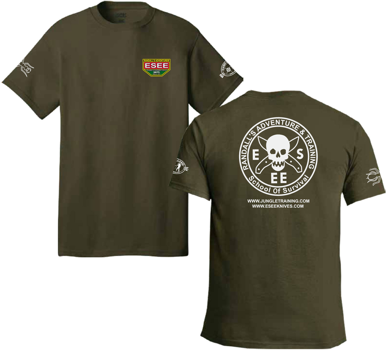 ESEE Knives Fatigue Green Training T-Shirt, Short Sleeve, 2XL