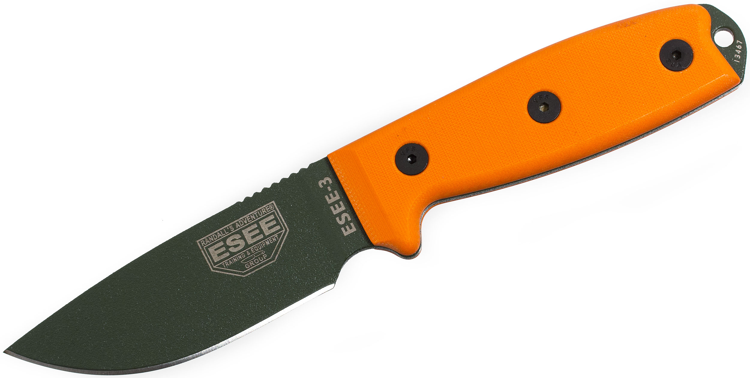 ESEE Knives ESEE-3PM-OD OD Green Plain Edge, Orange G10 Handles, Rounded Pommel, Black Sheath, Clip Plate