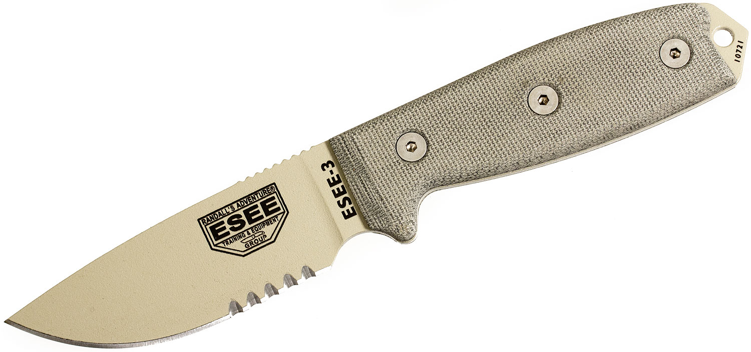 ESEE Knives ESEE-3S-MB-DT Desert Tan Combo Edge, OD Green Sheath, MOLLE Back and Clip Plate
