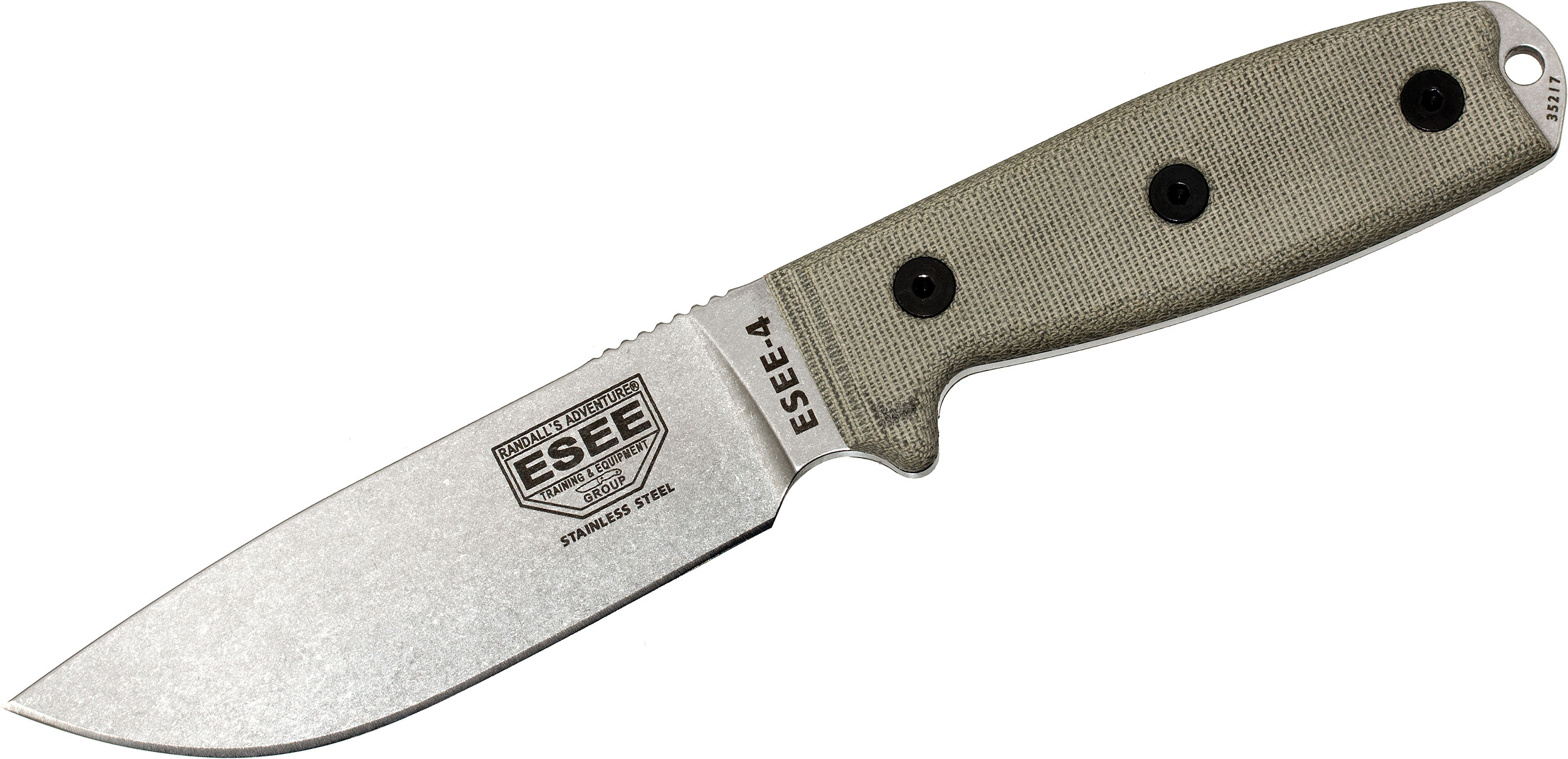 ESEE Knives ESEE-4P-MB-SS 440C Stainless Plain Edge, Black Sheath, MOLLE Back and Clip Plate