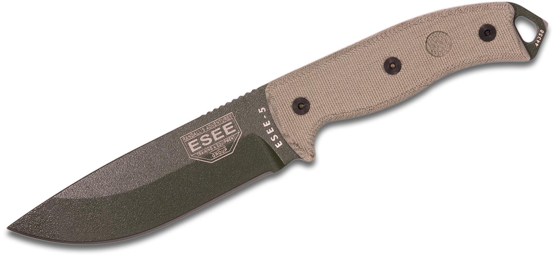 ESEE Knives ESEE-5P-OD-E OD Green Plain Edge, Tan Micarta Handles, Black Kydex Sheath, Clip Plate
