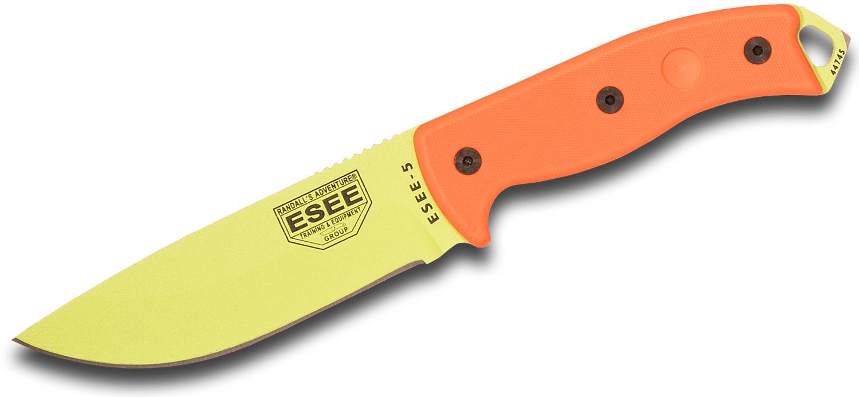ESEE Knives ESEE-5P-VG-E Venom Green Plain Edge, Orange G10 Handles, Black Kydex Sheath, Clip Plate