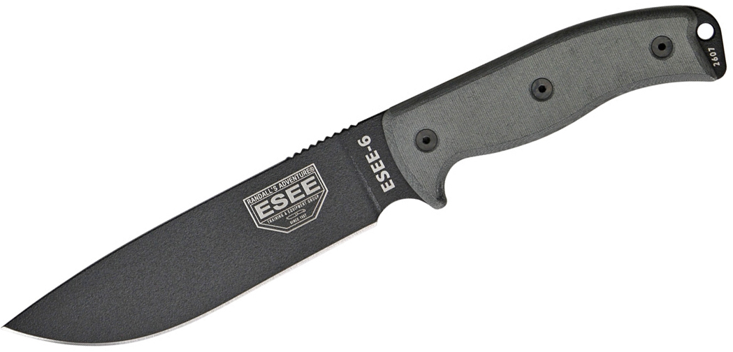 ESEE Knives ESEE-6P-B Plain Edge, Black Sheath, Clip Plate