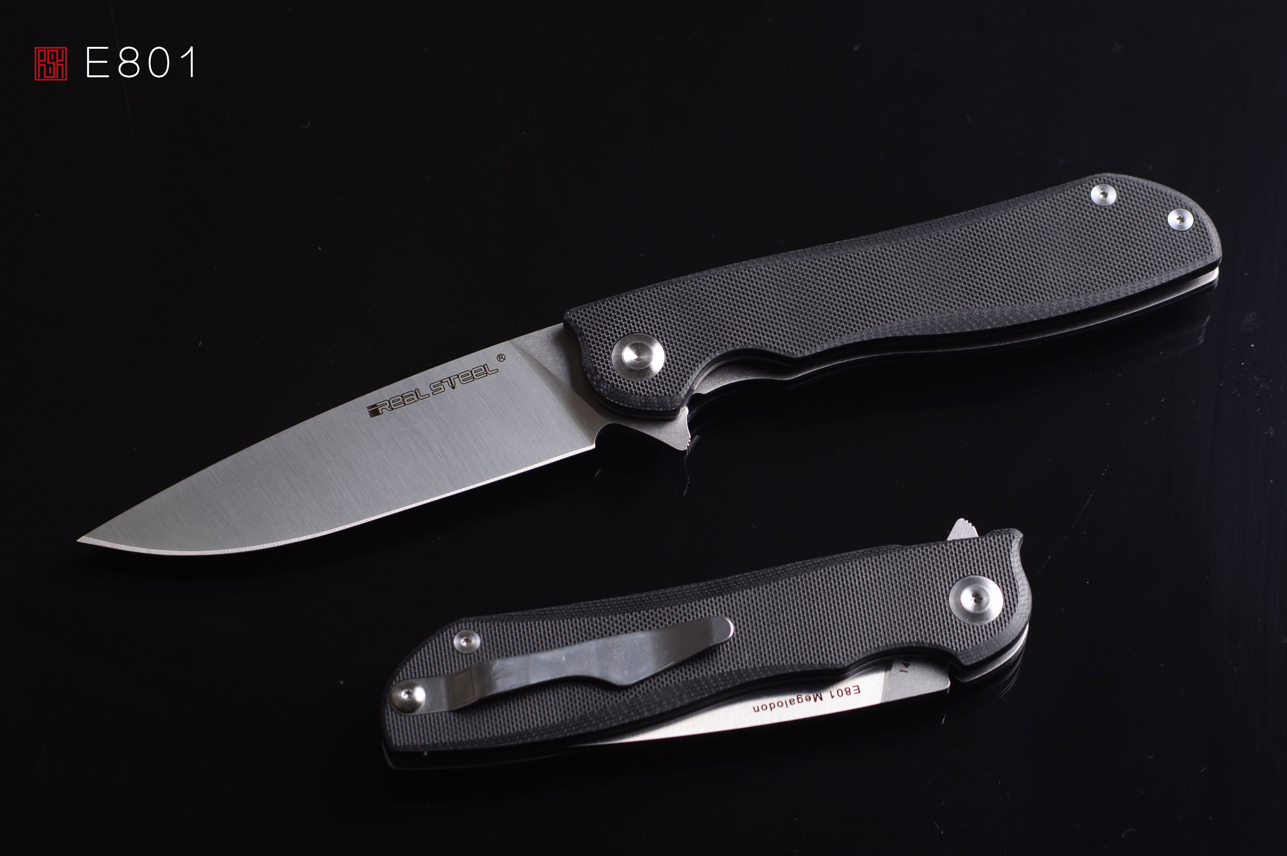 Real Steel Knives E801 Megalodon Flipper 3 93