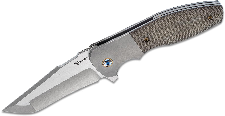 Reate Knives Kirby Lambert Augustus Flipper Knife 3.62 inch M390 Satin Blade, Bead Blasted Titanium Handles with Green Canvas Micarta Inlays