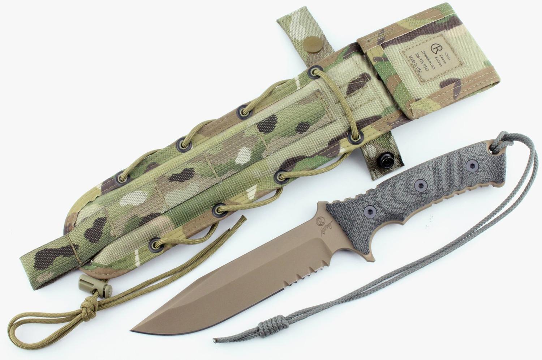 Chris Reeve Pacific Combat Knife Fixed 6 inch S35VN Flat Dark Earth Combo Blade, Micarta Handles, Camo Nylon Sheath