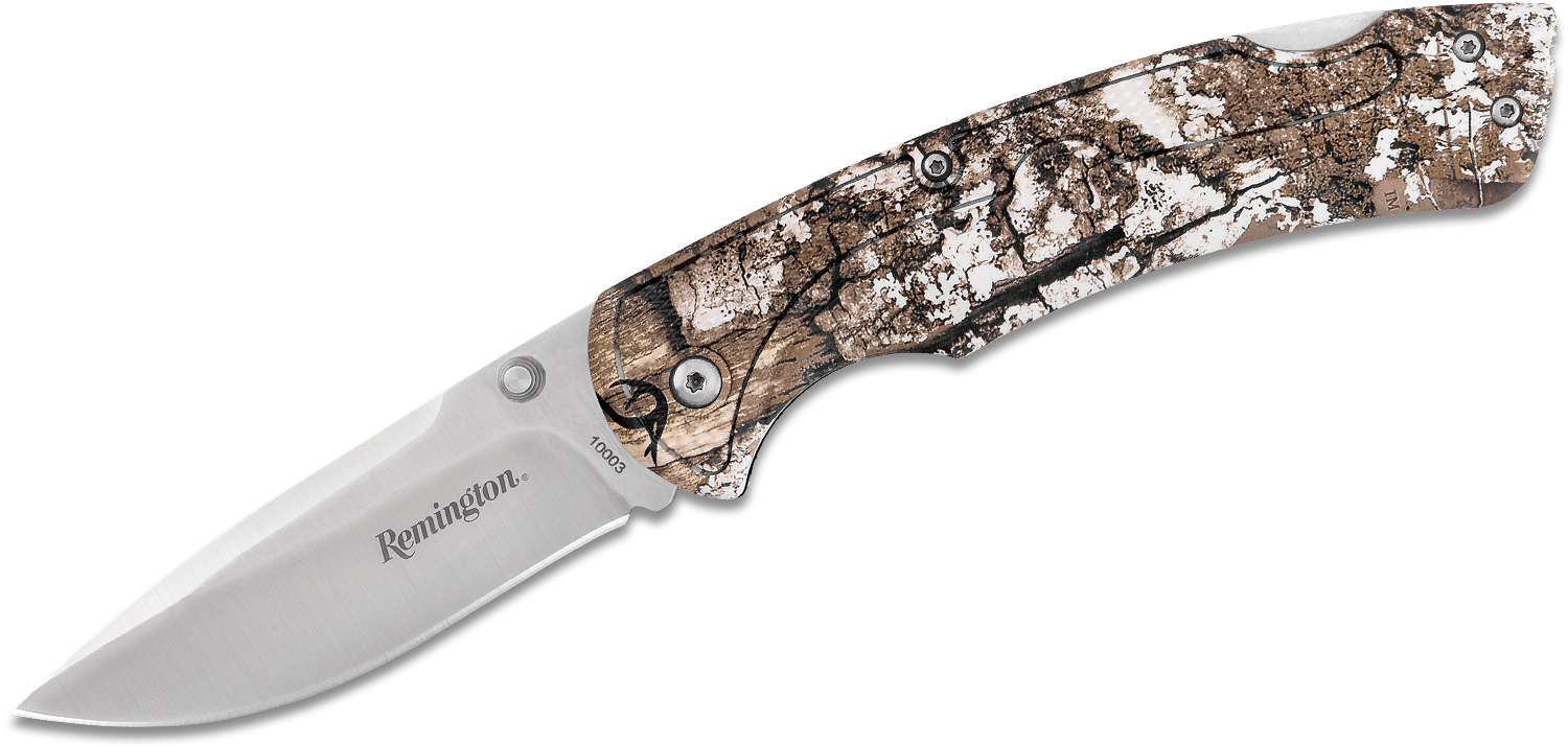 Remington Sportsman Folding Knife 3.5 inch Drop Point Blade, Real Tree EDGE Camo Zytel Handles