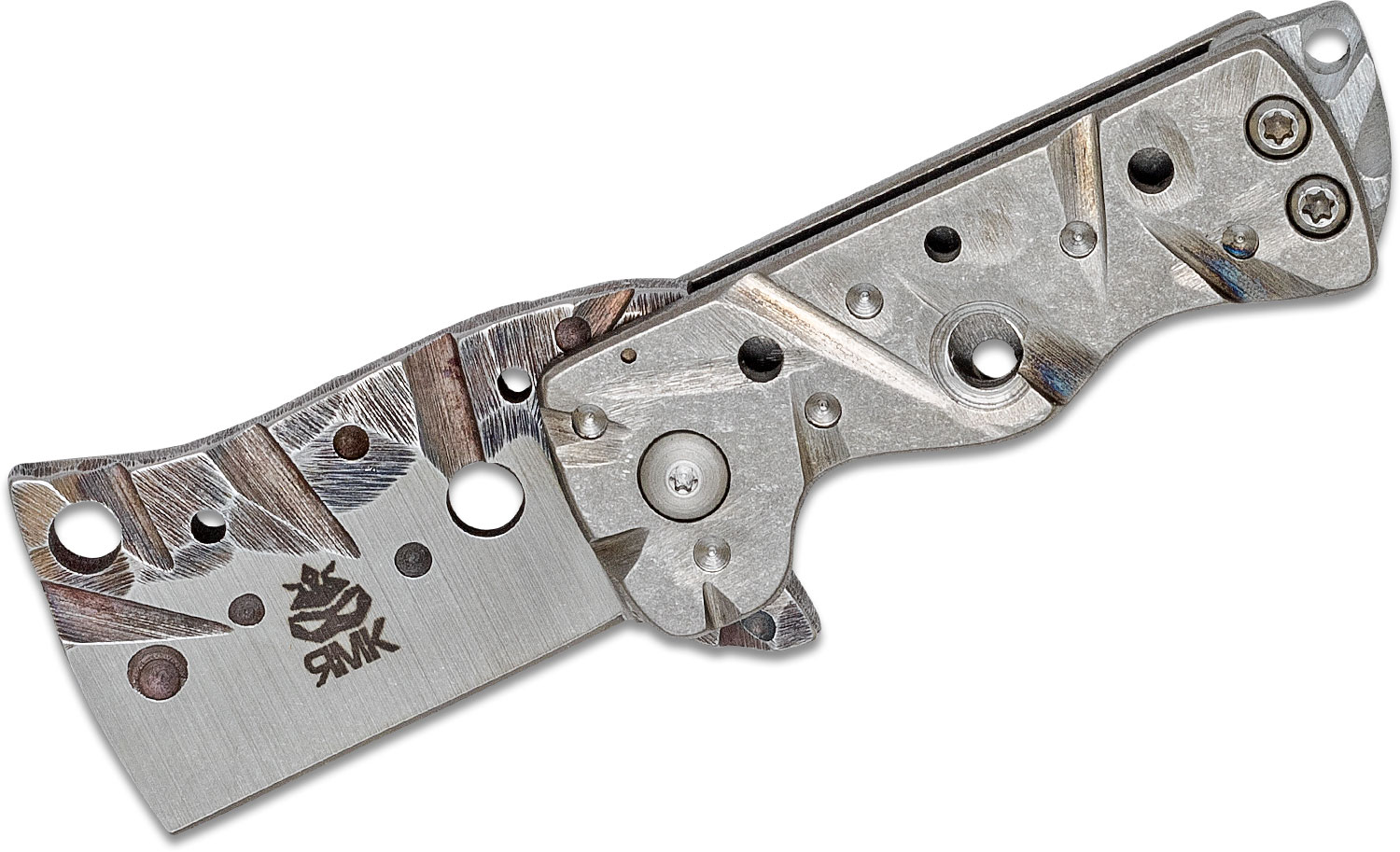 RichMade Knives Custom Baby Zombie Killer Flipper 1.75 inch D2  inchZombie inch Cleaver Blade and Titanium Handles