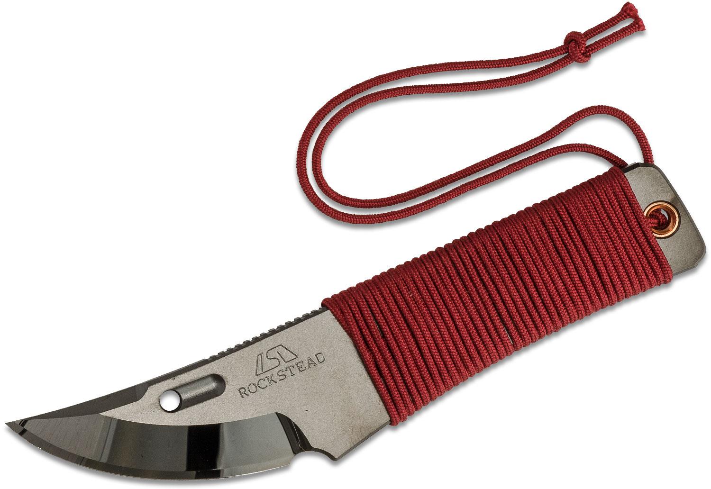 Rockstead CHOU-B Japanese Neck Knife 1.875 inch YXR7 DLC Polished Blade, Red Silk Wrapped Handle, Kydex Sheath
