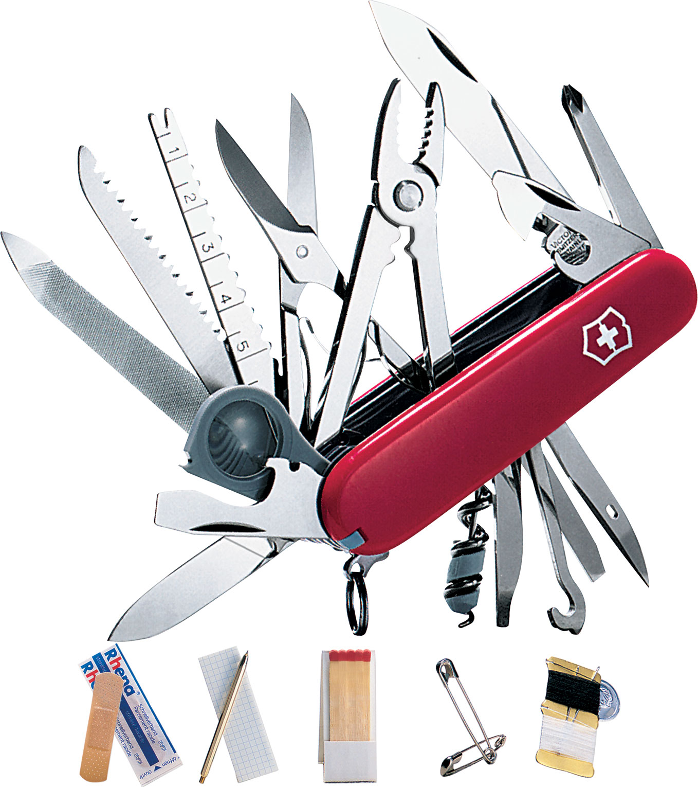 Victorinox Swiss Army SwissChamp SOS Multi-Tool, Red, 3.31 inch Closed