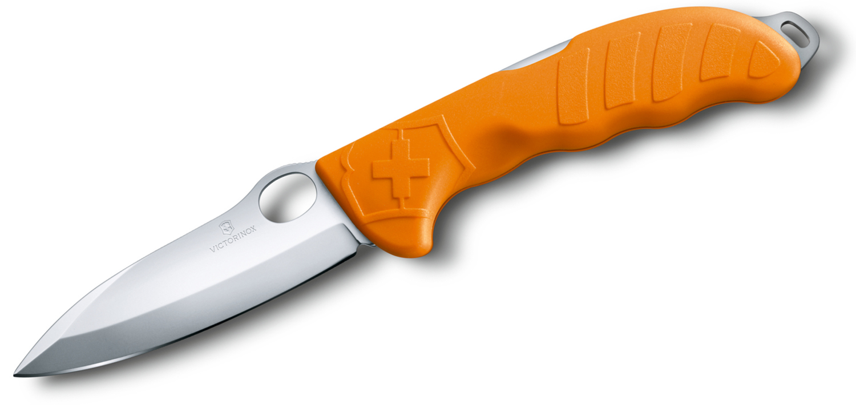 Victorinox Swiss Army Hunter Pro M Folding Knife 4 inch Bead Blast Blade, Orange Synthetic Handles, Nylon Pouch